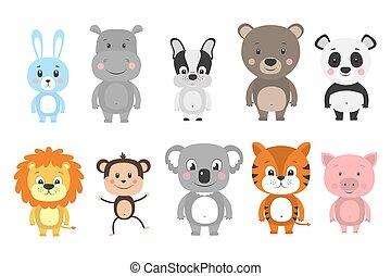 Set of cartoon animals. Vector illustration