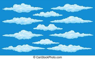 Set of cartoon clouds
