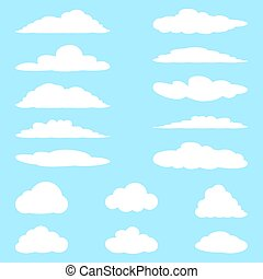 Set of cartoon clouds. Vector illustration.