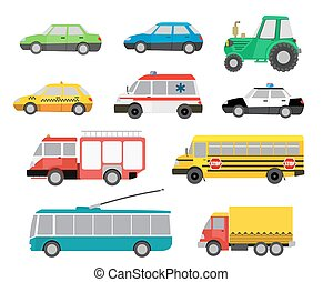 set of cartoon cute cars and special vehicles. vector illustration