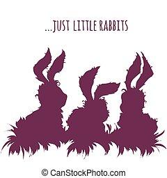 Set of cartoon cute rabbits. Vector illustration