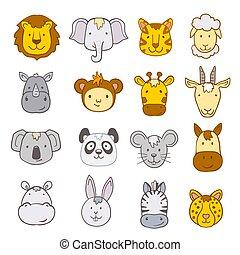 set of cartoon jungle animals faces. vector illustration