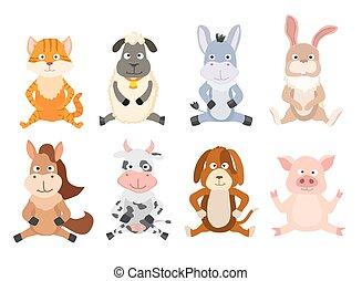 set of cartoon sitting animals. vector illustration