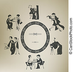 Set of characters in vintage party activities. Retro stylized.