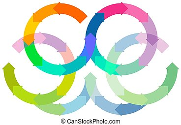 Set of colored circle arrows rotating on white background. Infographic - vector illustration.eps