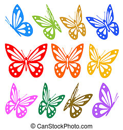 Set of colorful butterflies silhouettes - vector graphic