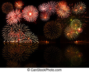 Set of colorful fireworks. Good for your object or text or year numbers in the center, e.g.2012
