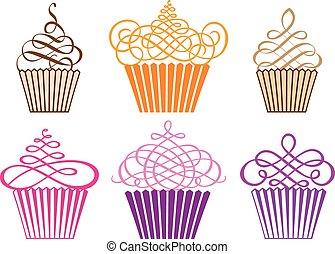set of decorative cupcake designs, vector illustration