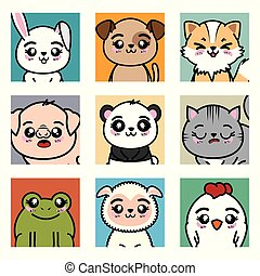 set of cute animals cartoon