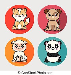 set of cute animal