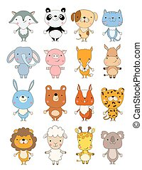 set of cute cartoon animals. vector