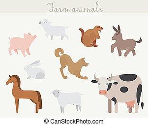 Set of cute cartoon farm animals.