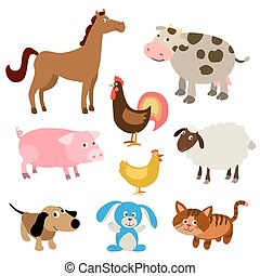 set of cute cartoon farm animals. vector illustration