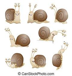 set of cute cartoon snails. vector illustration