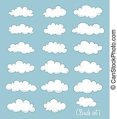 set of cute cartoon white clouds. vector