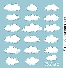 set of cute clouds. vector