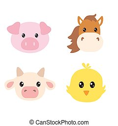 Set of cute farm animals faces isolated on white background. Cow, pig, horse and chick head for kids.
