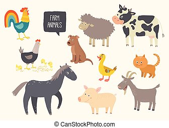 Set of cute farm animals. Horse, cow, sheep, pig, duck, hen, goat, dog, cat, cock. Cartoon vector hand drawn eps 10 childrens illustration isolated on white background.