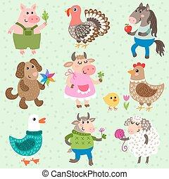 Set of cute farm animals
