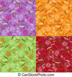 Set of cute floral seamless patterns