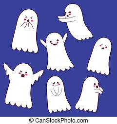 set of cute ghost vector illustration