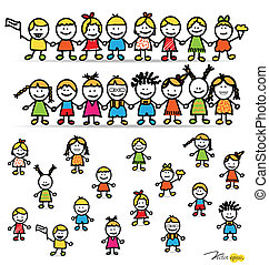 Set of cute happy cartoon kids. Vector illustration.