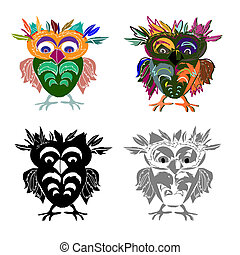 Set of Cute Owl (on a white background), cartoon drawing, cute illustration for children, vector illustrations (hipster symbol series)