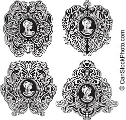 Set of decorative antique cameos