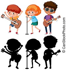 Set of different kids playing musical instruments with silhouette