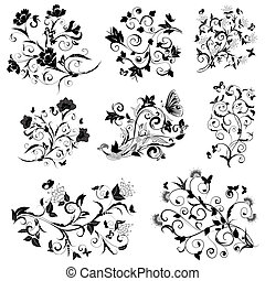 set of floral design with butterflies