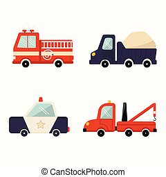 Set of four cute colorful cartoon cars