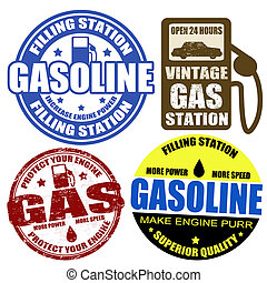Set of gasoline stamps and labels