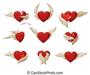 Set of hearts with wings.