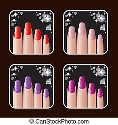 Set of icons of women's manicure.