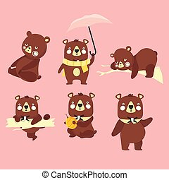 Set of illustrations with bears.