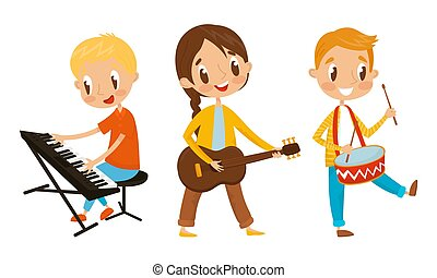 Set Of Kids Standing And Playing Different Musical Instruments. Characters