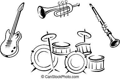 Set of musical instruments in retro style isolated on white background