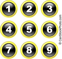set of number icons on black glossy glass buttons isolated on white