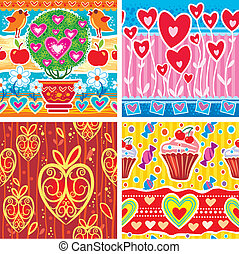 Set of pattern with hearts