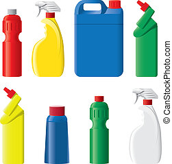 Set of plastic detergent bottles, sprays and canisters