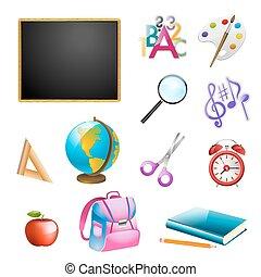 set of school items. vector illustration