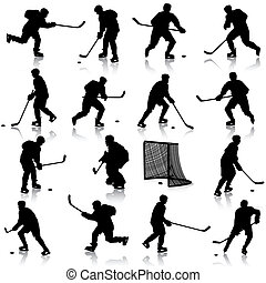 Set of silhouettes of hockey player. Isolated on white. illustrations.