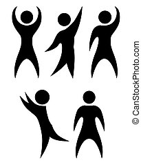 Set of simple black silhouettes of rejoicing and dancing people. The object is separate from the background. Vector element