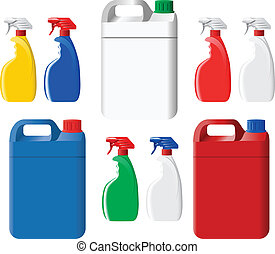 Set of colorful detergent spray bottles and canisters