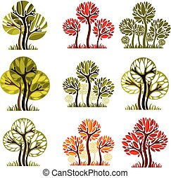 Set of stylized vector trees with green and orange leaves isolated on white background, ecology art decorative symbols collection. Season theme illustrations.