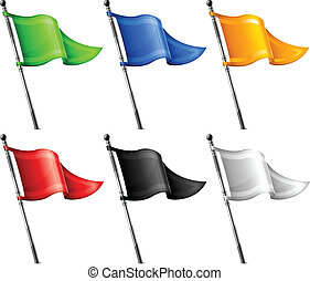 Set of little color triangle flags on flagpole, vector illustration
