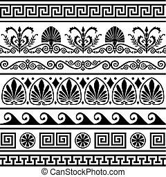 Set of vector antique greek borders