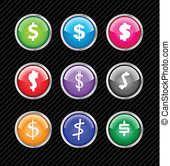 Set of vector buttons with different variations of dollar sign style. Easy to edit, any size or color. Aqua web 2.0