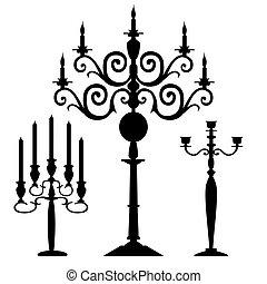 Set of vector candelabra silhouette