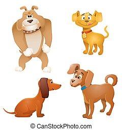 set of vector cartoon dogs